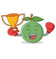 boxing winner guava mascot cartoon style vector image vector image