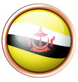 brunei flag on round badge vector image vector image