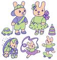 Bunnies for children set 2 of 2 vector image vector image