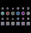 celtic symbols stone coins and square with celtic vector image vector image
