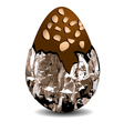 chocolate egg with nuts vector image vector image
