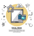 colorful poster of social media with tablet device vector image vector image