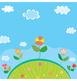 Cute landscape for kids with flowers vector image