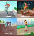 extreme skateboarding 2x2 design concept vector image