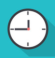 flat clock with long shadow and blue background vector image vector image