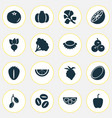 food icons set with olives cocoanut root and vector image vector image