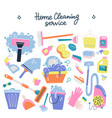 hand drawn cleaning service tools concep cleaning vector image