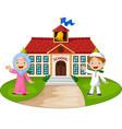 happy cartoon muslim kids in front school vector image vector image