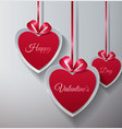 happy valentines day paper hearts hanging with vector image