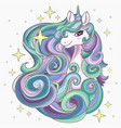 head a unicorn with a long mane the magical vector image vector image