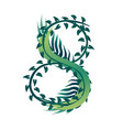 leaf number 8 with different types green leaves vector image vector image