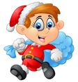 little kid with santa costume vector image vector image