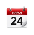 March 24 flat daily calendar icon Date vector image vector image