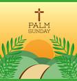 palm sunday cross hills sun branch card decoration vector image vector image