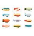 passenger airships set bright colored cigar vector image