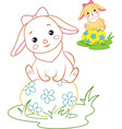 rabbit and easter egg coloring page vector image vector image