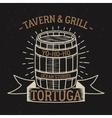 Retro rum barrel label or tee design Vintage rum vector image