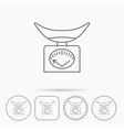Scales icon Kitchen weighing tool sign vector image vector image