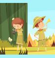 scouts activities cartoon banners set vector image vector image