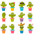 set cute cactuses vector image vector image
