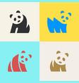 set panda logo vector image vector image