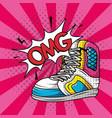 tennis sport shoes pop art style vector image vector image