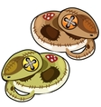 Two handmade soft toy serpent isolated vector image vector image