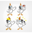 White funny hilarious parrot in different poses vector image