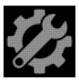 white halftone gear and wrench options icon vector image vector image