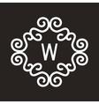 White Vintage Twirl Frame for W Letter vector image vector image