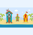 wooden bungalows on tropical coast sea beach vector image vector image