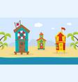 wooden bungalows on tropical coast sea beach vector image