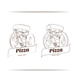 Pizza Funny Character Lineart vector image