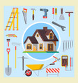 hand drawn doodle construction tools set vector image
