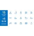 15 shower icons vector image vector image