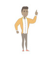 african-american man pointing his forefinger up vector image vector image