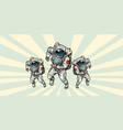 astronauts heroic team vector image vector image