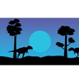 At the night mapusaurus scenery of silhouettes vector image vector image