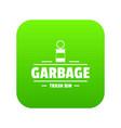 bin trash garbage icon green vector image vector image