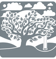 branchy tree with swing on beautiful cloudy winter vector image vector image