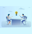 business man and woman sitting at desk discuss new vector image vector image