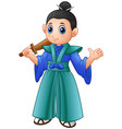 cartoon japanese samurai warrior with wooden sword vector image