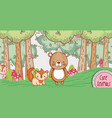 cute bear and fox in the forest doodle cartoon vector image vector image