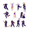 firefighters policemen and victims set police vector image