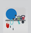 fitness equipment gym flat style vector image