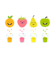 Fresh juice and glasses Apple strawberry pear vector image vector image