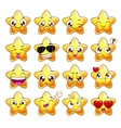 Funny cartoon star character emotions set vector image vector image