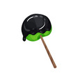 green lollipop with black sauce vector image