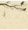 Grungy retro background with tree branch and birds vector image