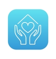Hands holding house symbol with heart shape line vector image